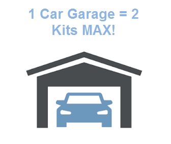 If you have a 1 Car Garage, DO NOT order more than 2 Bin Caddy Kits to begin with. Most 1 Car Garages are attached to a condo, apartment or smaller structure, and we have discovered that 2 kits is the Max order to begin with. You may find that after you install your two kits that you have much more room, but this is a safe place to start without overbuying product.